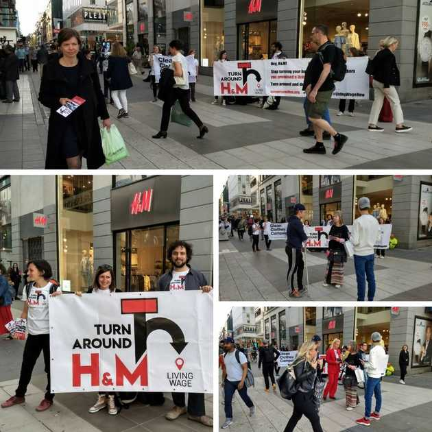 Activists in front of H&M store